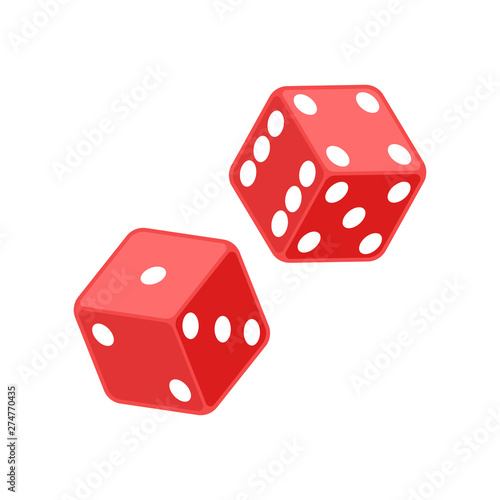Red dice illustration. Vector. Isolated. Fototapete