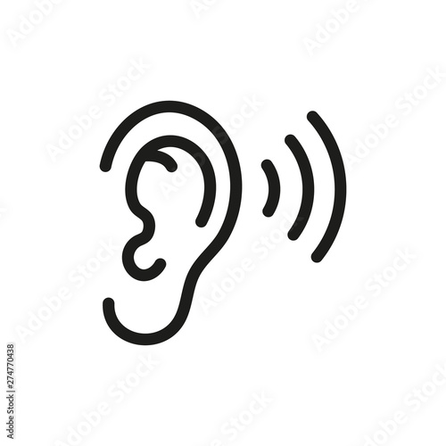 Photo Ear listening icon. Vector. Isolated.