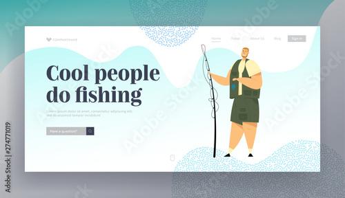 Slika na platnu Fisherman Holding Rod Showing Fish he Caught