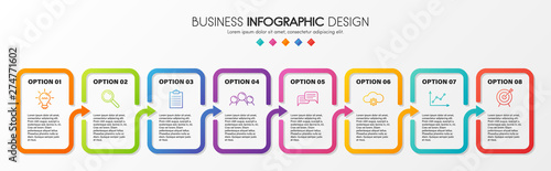 Fotografia  Business infographic template with 8 steps. Vector