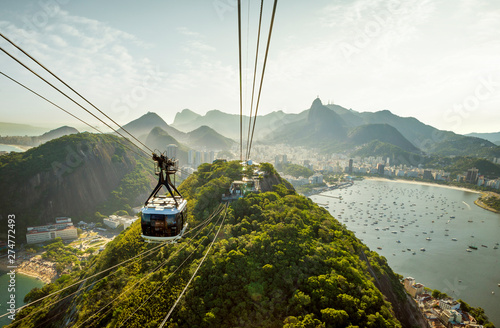 Cable car going to Sugarloaf mountain in Rio de Janeiro, Brazil Wallpaper Mural