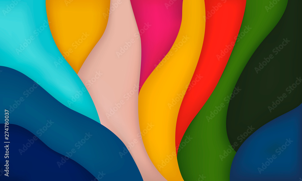 Fototapety, obrazy: Horizontal abstract background, multi-colored cutting. Colored wavy stripes. Vector
