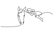 One Line Drawing. Small Girl R...