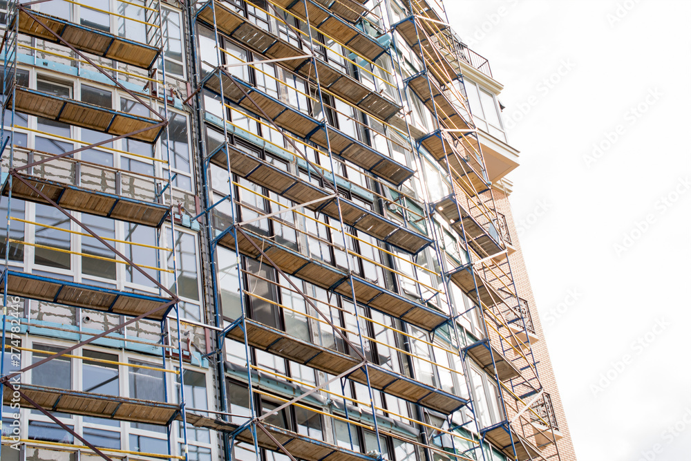 Fototapety, obrazy: construction of a high-rise building, scaffolding