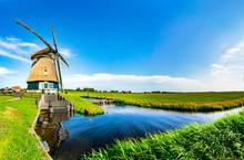 Beautiful Windmill In A Picturesque Landscape Near Volendam