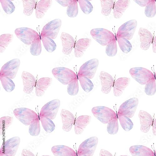 Tapeta fioletowa  flying-butterflies-hand-drawn-watercolor-seamless-pattern