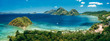 canvas print picture - Aerial panoramic view of Las Cabanas beach and sea bay in El Nido, Palawan, Philippines
