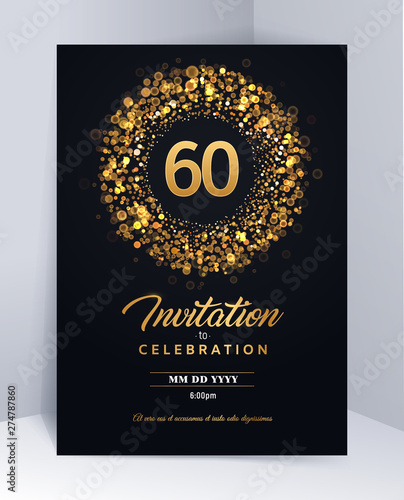 Fotografia  60 years anniversary invitation card template isolated vector illustration