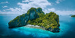 canvas print picture - Aerial drone panorama picture of tropical paradise epic Entalula Island. Karst limestone rocky mountains surrounds the blue lagoon with beautiful coral reef