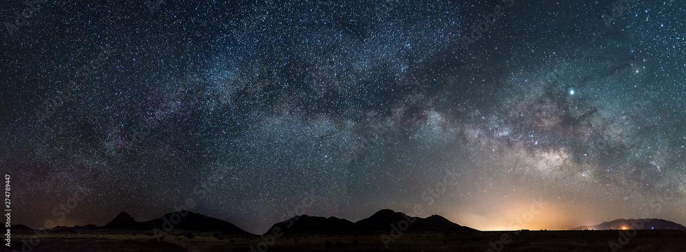 Fototapeta Pano of the Milky way in Arizona