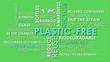 canvas print picture - Plastic Free related words animated text word cloud on removable chroma key green screen background.