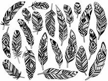 Tribal Feathers Set Decoration...