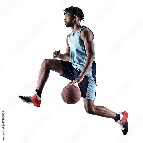 one afro-american african basketball player man isolated in silhouette shadow on Canvas Print