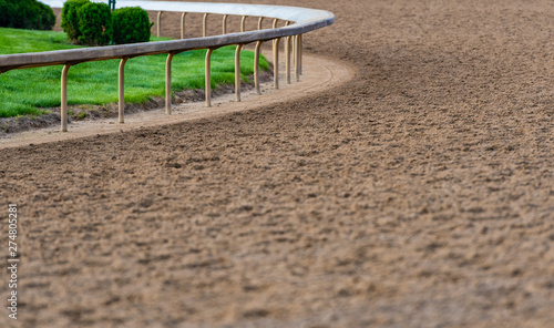 Photo  Rail At The Curve of Horse Track