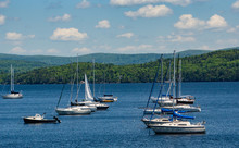 Sailboats Moored In Bay On Lak...