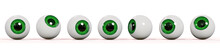 Many Realistic Human Eyes With Green Iris, Isolated On White Background