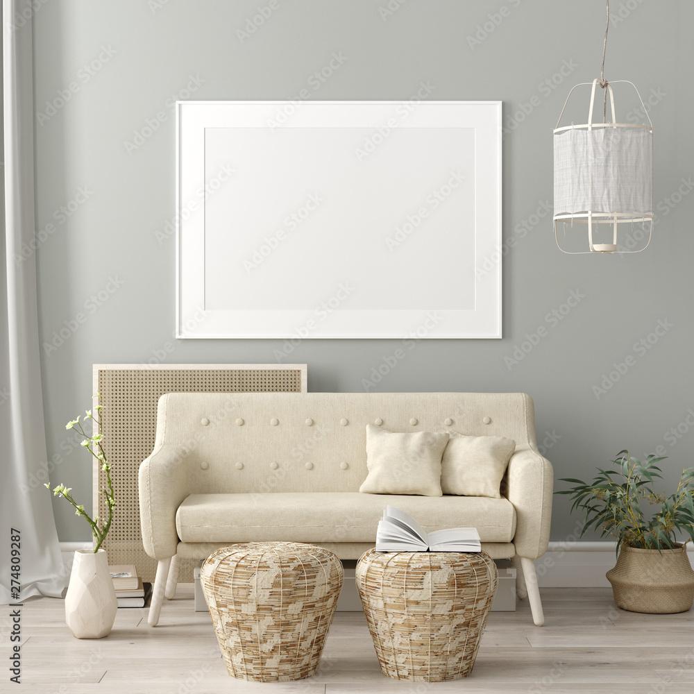 Fototapety, obrazy: Mock up poster frame in living room interior. Interior Scandinavian style. 3d render