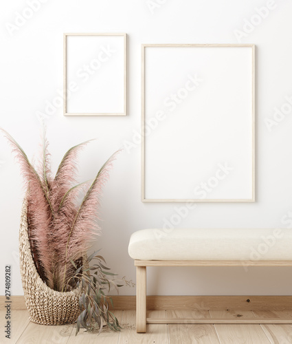 фотография  Mock up poster frame in living room interior