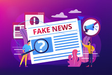False Information Broadcasting. Press, Newspaper Journalists, Editors. Fake News, Junk News Content, Disinformation In Media Concept. Bright Vibrant Violet Vector Isolated Illustration
