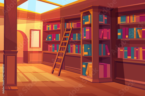 Library interior, empty room for reading with books on wooden shelves, ladder, glass window on roof with falling sun rays Wallpaper Mural