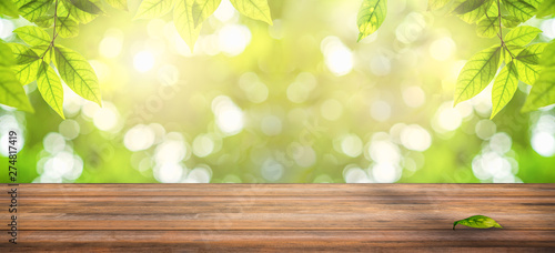 wooden table with natural view of green leaves in garden, ray of sunlight though tree leaves in summer time - 274817419