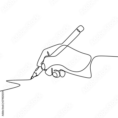Continuous one line drawing hand palm fingers gestures pen, pencil. Wall mural