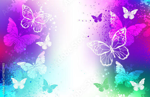 Fotobehang Vlinders in Grunge Bright background with white butterflies