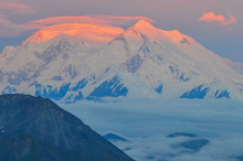 Sunrise View Of Mount Denali - Mt Mckinley Peak With Red Alpenglow From Stony Dome Overlook. Denali National Park And Preserve, Alaska, United States