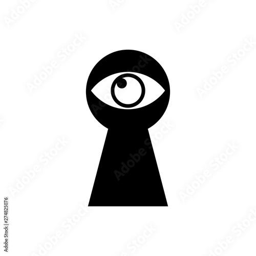 Fotografía Black Keyhole with eye icon isolated