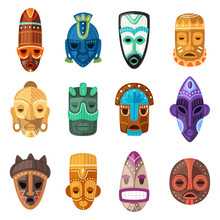 Tribal Mask Vector Cartoon Afr...