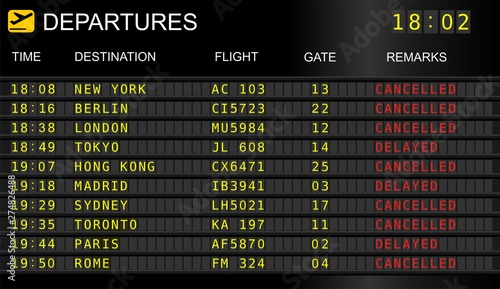 Flight departure board Fototapeta