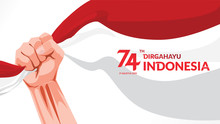 17 August. Indonesia Happy Independence Day Greeting Card With Hands Clenched, Spirit Of Freedom Symbol. Use For Banner, And Background . Vector