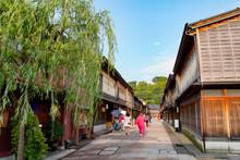 日本・金沢・ひがし茶屋街・古い町並み