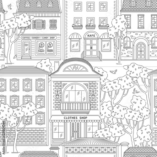 Poster Blanc Street and building in city seamless pattern. Shops and houses line art style vector black white illustration background.