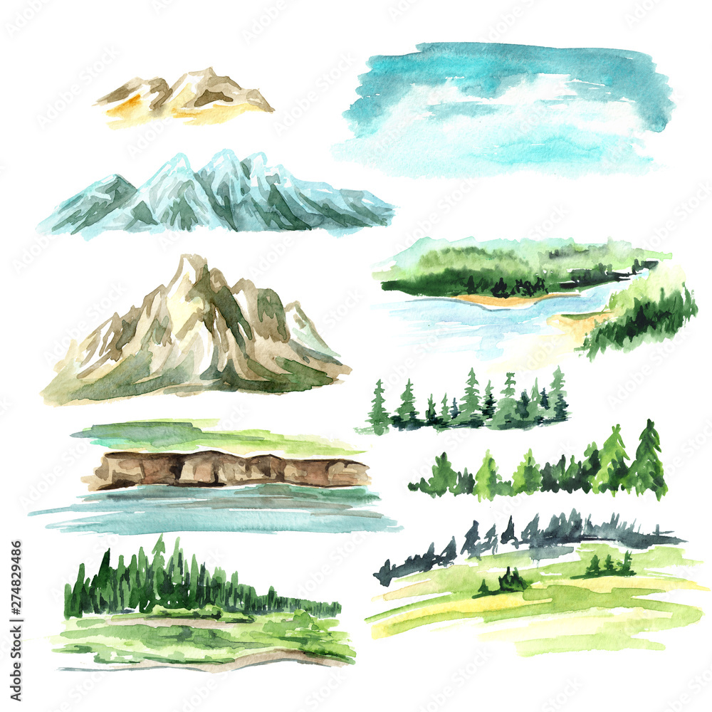 Obraz Landscape elements with mountains. Watercolor hand drawn illustration, isolated on white background fototapeta, plakat