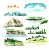Landscape elements with mountains. Watercolor hand drawn illustration, isolated on white background