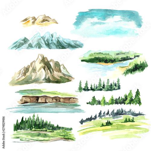 Landscape elements with mountains Canvas Print
