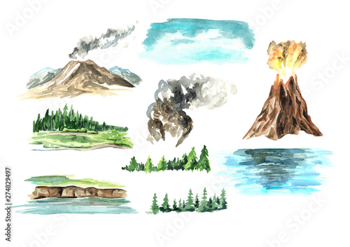 Poster Blanc Landscape elements with volcano. Watercolor hand drawn illustration, isolated on white background