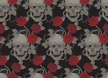 Human Skull And Red Roses. Sea...