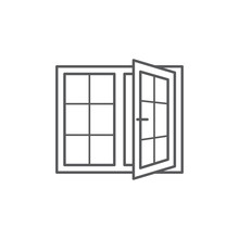 Window Line Icon On White Background