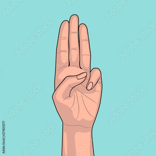 Fotografie, Tablou  Girl shows three fingers on blue background