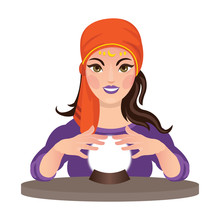 Beautiful Fortune Teller Reading A Future With Her Crystal Ball