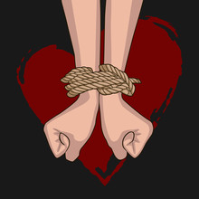 Bound Hands Isolated On The Background Of A Red Heart. Hands Tied With Rope. Clenched Fists. Black Background.
