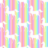 Fototapeta Dinusie - Seamless pattern with stilized unicorns. Colored illustration In pink, blue, ultraviolet colors