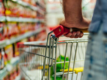 Shopping Cart In Supermarket. ...