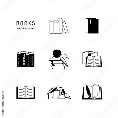 Books - vector icon set on white background. Fototapet