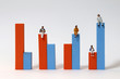 canvas print picture Miniature people sitting on a bar graph. The concept of population change.