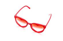 Red Sunglasses On White Backgr...