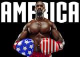 Świętujemy Dzień Niepodległości. Gwiazdy i paski, flaga Stanów Zjednoczonych Ameryki jako rękawiczki męskiego boksera. Nowoczesny design. Sztuka współczesna. Kreatywny konceptualny i kolorowy kolaż. - 274837607