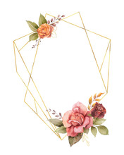 Watercolor Vector Autumn Frame With Roses, Leaves Iand Gold Geometric Frame.